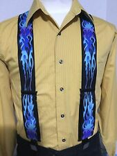 "New, Men's Blue Flame, XL, 2"", Adj. Suspenders / Braces, Made in the USA"