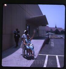 1960s Kodachrome photo slide nurse with lady in wheelchair Newborn baby