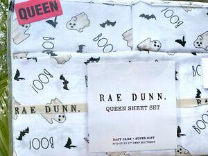 Rae Dunn QUEEN HALLOWEEN SHEET SET GHOSTS BATS Spooky Home Decor 4PC NEW