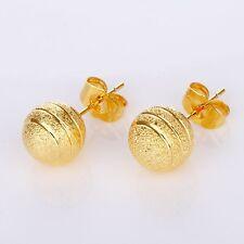 Bead Earstud 18k Yellow Gold Filled Women Earrings Lady's Hoops Charms Jewelry