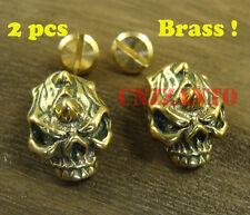 2pcs Brass Leathercraft Skull rivet stud screw back Conchos Fob Wallet Z123