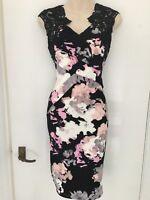 New Ex Lipsy Lace Floral Bodycon Pencil Midi Dress Party Wedding Size 4 - 18