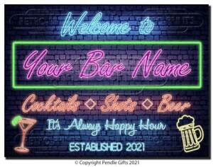 PERSONALISED NEON EFFECT Bar Sign Metal Tin plaque man cave shed garage home pub