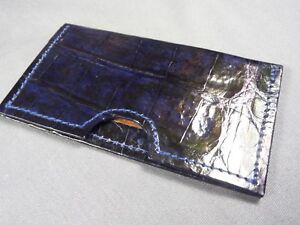 Genuine Blue Alligator Skin Deluxe Credit Card Sleeve, Card holder, Wallet 3