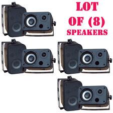 Lot of (8) PyleHome PDWR30B 3.5' Indoor/Outdoor Waterproof Speakers (Black)