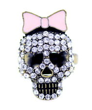 Clear crystal and bronze skull with bow ring biker punk goth Size M