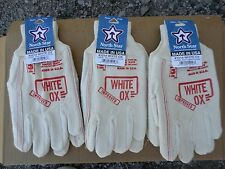 NORTH STAR ORIGINAL WHITE OX  WORK GLOVES 1014 LARGE  3 Pair Made in the  U.S.A.