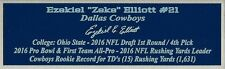 Ezekiel Elliott Autograph Nameplate Dallas Cowboys Helmet Jersey Football