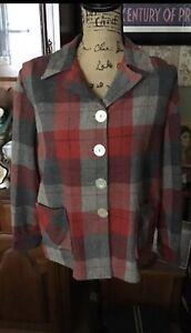 Pendelton Vintage Ladies 49ers Plaid 100 % Virgin Wool  Coat L-XL No Tag