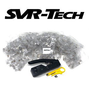 SVR-Tech PRO Tool & 500 x Cat5 Cat6 RJ45 Pass Through Connector Crimping Package