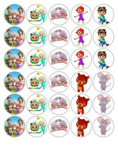 30X 4cm KIDS COCOMELON MIXED EDIBLE FONDANT/WAFER FAIRY CUP CAKE TOPPERS