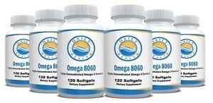 Omega 8060 Fish Oil 2400mg 120 SoftGels Omega-3 EPA DHA Heart Joint Health 6 pk