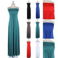 Women's Fold over Tube Ruched Maxi Dress Full Length Long Strapless Comfortable