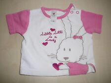 C & A süßes T-Shirt Gr. 62 weiß-rosa mit Häschen Stickerei !!