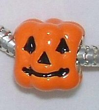 NEW 925 ss Beadles enamel pumpkin bead, orange,  2.9 gr