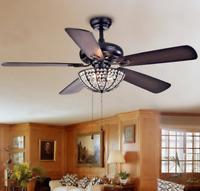 """Warehouse of Tiffany CFL-8167BL 52"""" Crystal Ceiling Fan Lamp 3-Light Chandelier"""