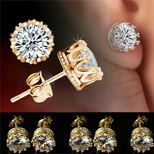Gold Plated Stud Crown Round Crystal Earrings 6mm CZ Cubic Zirconia Silver NEW