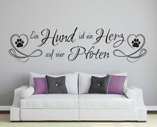 Hund - Herz Pfoten Spruch Aufkleber Haustier Wandaufkleber Wandspruch WandTattoo