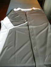 NEW MAJESTIC MENS BLANK BUTTON FRONT BASEBALL JERSEY COOL BASE GRAY LARGE