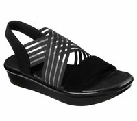 Skechers Womens Cali Bumblers Stop N Stare White Strappy Slingback Sandals 31625