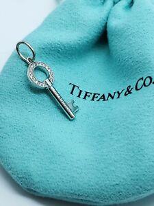 Tiffany & Co Modern Open Round Key Diamond Pendant Necklace 18k White Gold AUCT