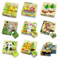 Children Cartoon Puzzle Blocks Colorful Educational Wooden Kids Toy XMAS   ~