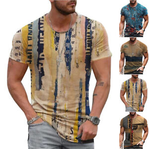 Mens Vintage Printed Short Sleeve T-Shirt Blouse Casual Fitness Summer Tops Tee