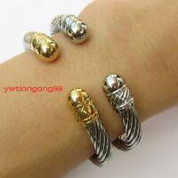 Women Men Silver / Gold 316L Stainless steel Rope Wire Bracelet Cuff Open Bangle