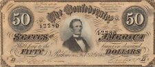 Confederate State of America $50 2.17.1864 Series A Circulated banknote