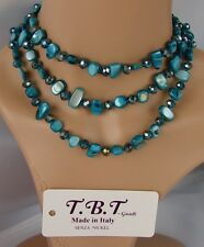 blu mare Collana Lunga in Madreperla,perle,pietre Dure,cristalli da donna