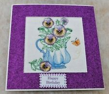 Complete handmade machine embroidered Birthday Card Pansy's and jug
