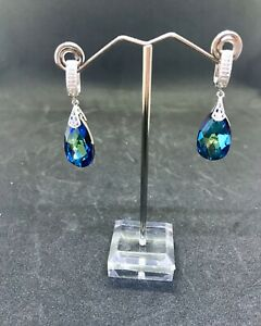 Swarovski blue crystal drop women earrings  new handcrafted only 2 made!!!