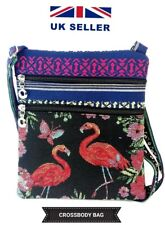 LADIES WOMEN'S FASHION FLAMINGO KNITTED PICTURE CROSS BODY SHOULDER SIDE BAG UK