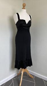 DIANE VON FURSTENBERG Fab Black Wool Strappy Dress With Satin Trim 6 (US) 8 (UK)