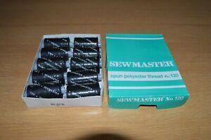10 X 1000 Yards Black Sewmaster Spun Polyester Thread No. 120