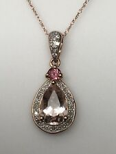10K Rose Gold Pear Shape Morganite Pink Tourmaline and Diamond Pendant Chain