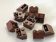 *NEW* 10 Pieces Lego REDDISH BROWN Slope INVERTED 45 2X2 3660