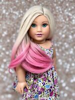 "American Girl Doll Custom Wig - Pink Dyed Ombré ""Vanilla Rose"""