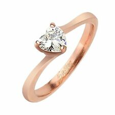 Stainless Steel Promise Band Sizes 5-8 Rose Gold Heart Solitaire Engagement Ring