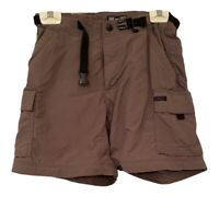 REI Womens Cargo Shorts Brown Nylon UPF 50+ Pockets Belted Zip Up Petites 8P