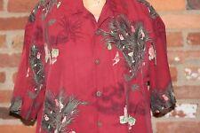 Tommy Bahama Seasons Greetings Christmas Hawaiian Shirt Red Med Partridge Palm