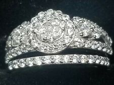 Haosg 925 Sterling and Crystal Ring Set - Size 8.5