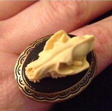 Wolf Faux Taxidermy Resin Skull Bronze Locket Ring