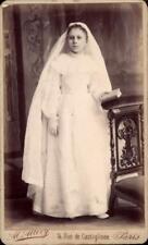 CDV jeune fille communiante voile blanc missel Alcide Allevy Paris vers 1890