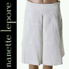 $268 NANETTE LEPORE White Textured Pleated A-Line w Pockets Skirt 5860 ~8 M3020