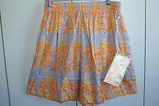 Kahala Avi Womens Petite Fabulous Kahili Ginger on Periwinkle Pleated Shorts/NWT
