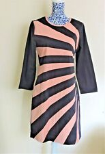Almatrichi Spain Navy Peach Wave Patchwork Stretch Cotton Wiggle Dress EU42/UK14