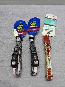 Martha Stewart & Top Paw adjustable  Collar Size XS 7-12 in neck size set of 3