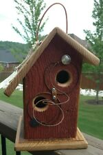 Re-purposed Barnwood & Cedar In and Out Collectible Birdhouse w/ Buffalo Nickel