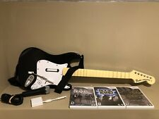 Wii Rock Band Fender Strat Guitar Bundle Dongle + 3 Games + Mic *Broken Whammy*